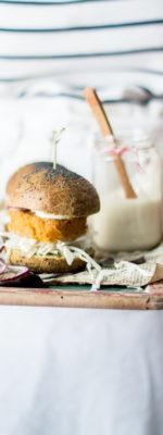Zucca burger con pane agli spinaci