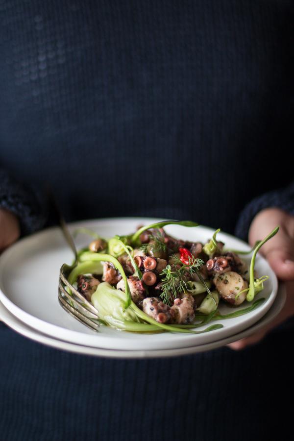 Insalata di polpo puntarelle e olive taggiasche