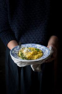 Risotto semi integrale con zucca e roquefort
